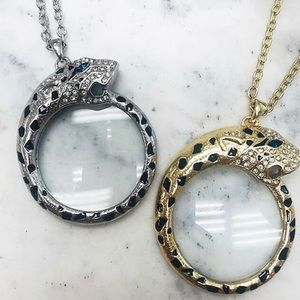 Leopard Magnifier Monocle Necklace Gold or Silver